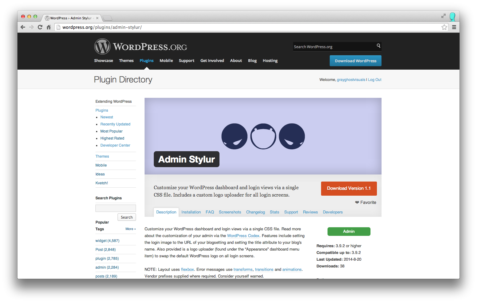 screenshot of plugin on the WordPress plugin directory